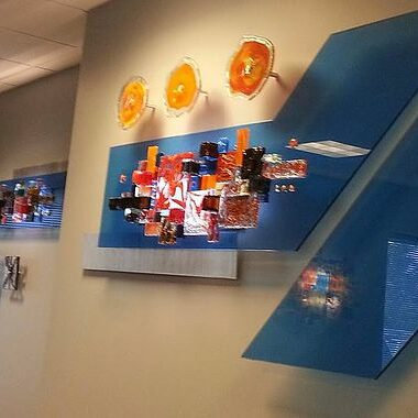 Hand Blown Glass Art on display at a Houston Doctor's Office